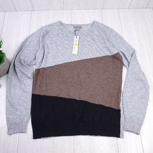 Joseph A Grey Combo Colorblock Knit Crew Sweater M